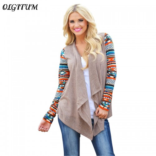Hot Sale new Cardigan Women Sweater Fashion Printed Long Sleeve Striped Tops Casual Cardigans Irregular