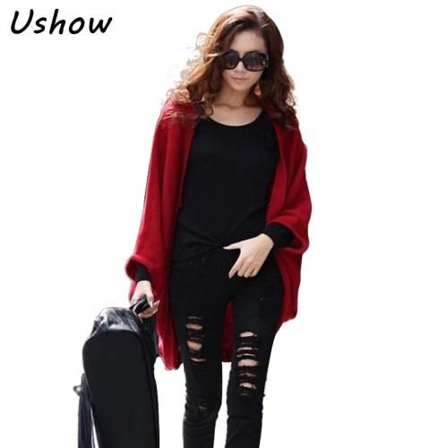 Korean Fashion Woman Cardigans Loose Shawl Batwing Sleeves Lady Knit Sweater Coat Woolen Women Long
