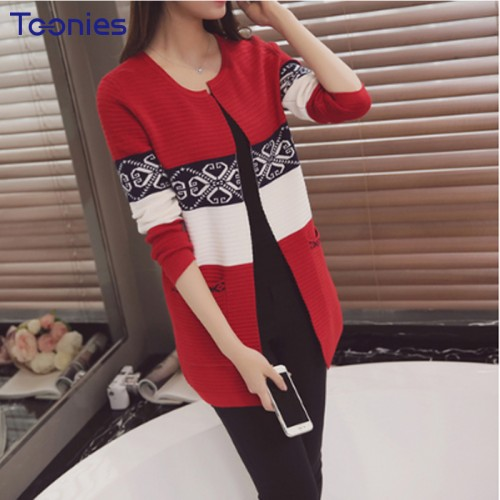 New Autumn Long Woman Cardigan Sweater Slim Long Sleeve Womens Cardigans Sweaters Striped Fashion Women
