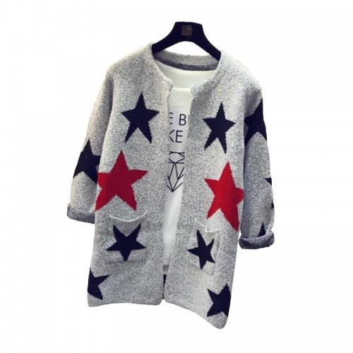 New Fashion Star Pattern Cardigans Female Sweaters Knitted Long Sleeve Slim Women Sweater Cardigan SW153