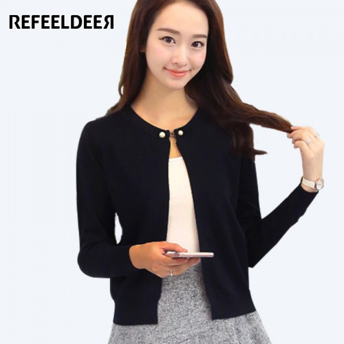 Refeeldeer Knitted Cardigan Women Spring Autumn Long Sleeve Sweater Cardigan Female Single Button Pull Femme