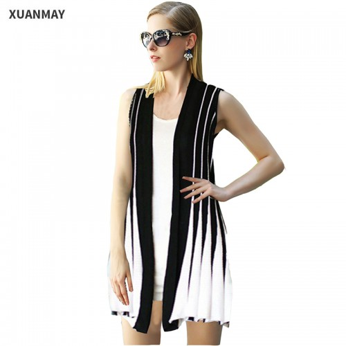 Women Summer knitted cardigan Sweater vest Large size women Striped knit Cardigan sweaters