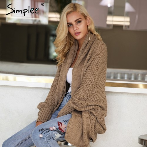 Simplee Batwing knitted shrug sweater women Autumn winter fashion tricot warm jumper sweater oversize shawl cardigan