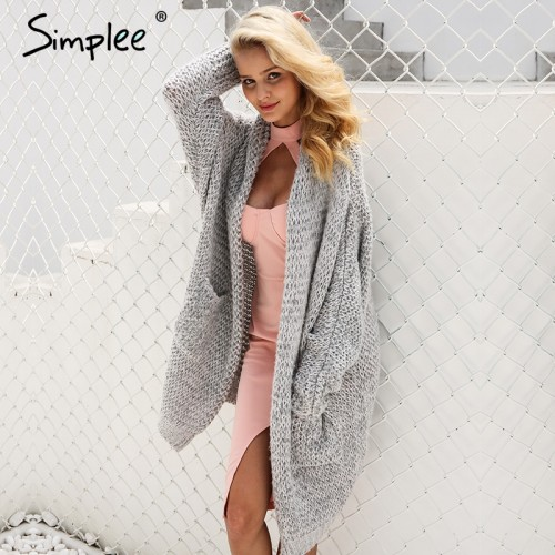 Simplee Casual knitting long cardigan female Loose kimono cardigan knitted jumper 2017 warm winter sweater women