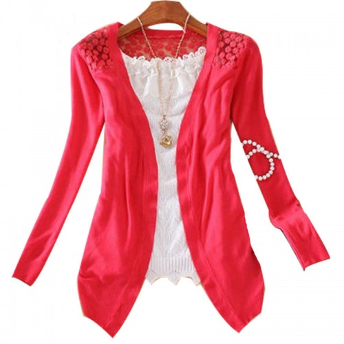 Women Candy Color Slim Thin Lace Hollow Out jacket Women Knitted Cardigan Sweater Tops Irregular Hem