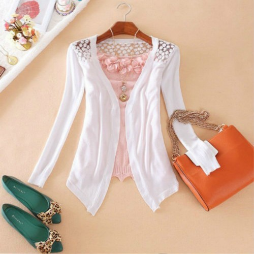 Women Knitted Cardigan Sweater Tops Women Candy Color Knitwear Hollow Lace sweater Long Sleeve Slim Thin