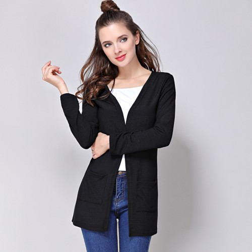 drop shipping Classic Cardigans V neck Fashion Basic Women Wool Knitted Pocket Cardigan Long Women Sweater