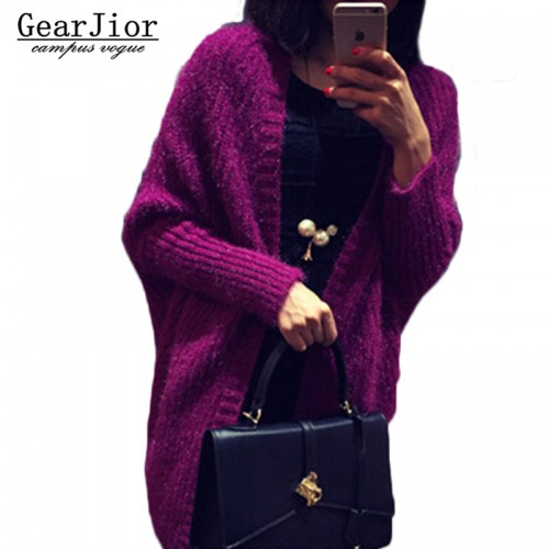 new women s solid wild knitted sweaters women batwing sleeve cardigans female Thicken Shawl knitted