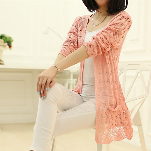 spring and summer new hollow thin sweater cardigan girls long sleeved jacket sweater shawl loose