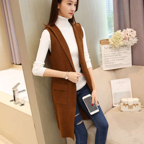 5296 real shot the new version of Korean women s clothing long cap knitted vest 742
