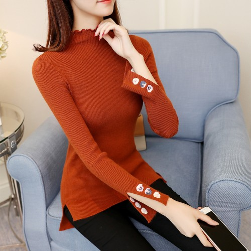 5623 new embroidery sweater cuff vent