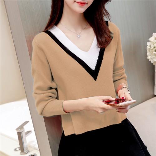 6181 Korean autumn new women s big V collar sweater 55