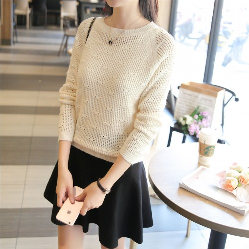 7229 real shot new autumn outfit hollow neck 35 5 colors