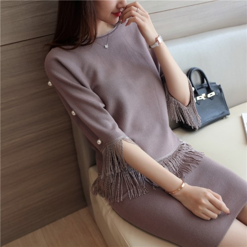 7372 real women s clothing set pearl fringe knitting suit 47 5 color 1 building 6