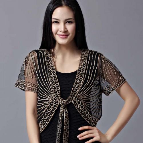 Free shipping All match short sleeve handmade crochet lacing women s shrug small cape cutout cardigan