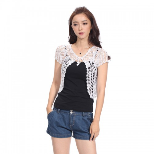 Hand knitted Summer Elegant Fashion Women Beading Short Sleeve Cardigan Cheap Sweaters Crochet Shrug Hollow Out
