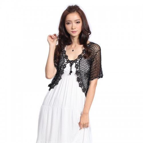 Hand knitted Women s Short Sleeve Crochet Shrug Lace Hollow Out Many colors Sweater Cape Cardigan