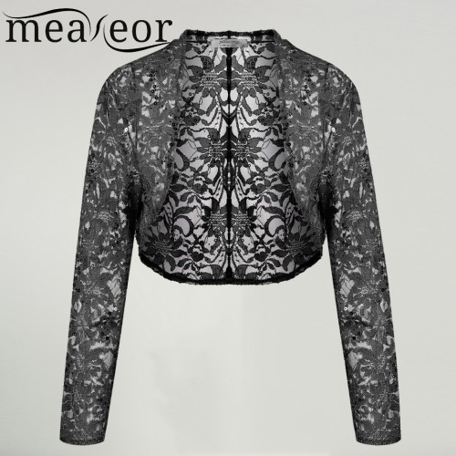 Meaneor Brand Knit Bolero Shrug Women Casual 3 4 Sleeve Lace Floral Light Crop Open Stitch