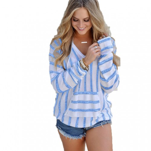 New Autumn And Winter Knitted Long Sleeve Sweater Women Pullover Female Casual Striped V neck