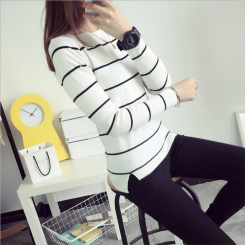 New Spring Autumn Women Sweaters Casual Cardigan Slim Stripes Bottoming Pullover Thick Knitted Sweater For