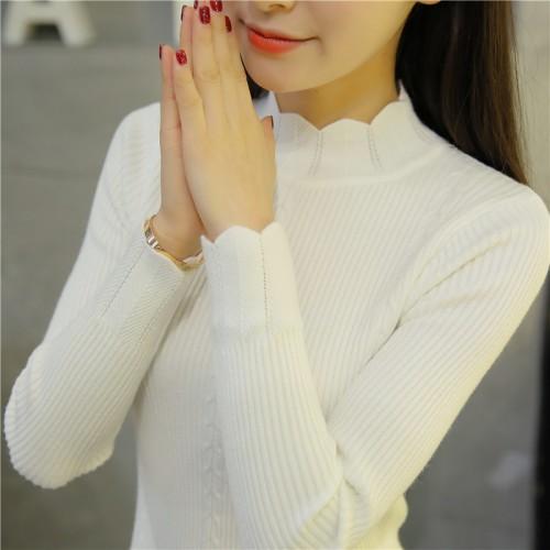 OHCLOTHING new Korean slim dress lace knitted sweater semi Turtleneck