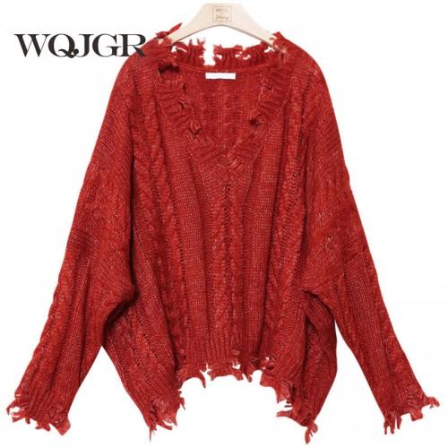 Sweater Women Thickening Easy Hemp Flowers Weave Holes V Lead Long Sleeve Lazy Wind Knitting
