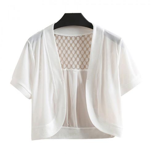 Women Fashion casual Lace Wrap Coat Hollow Out Short Shrug