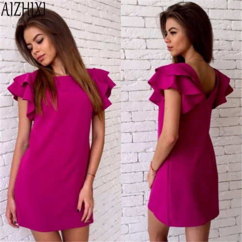 Butterfly Sleeve Backless Summer Solid Straight Dress Woman Mini Party Club Dresses