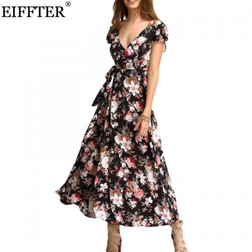 EIFFTER New Arrival Summer Women Fashion Short Sleeve V Neck Floral Print Maxi Dresses Beach