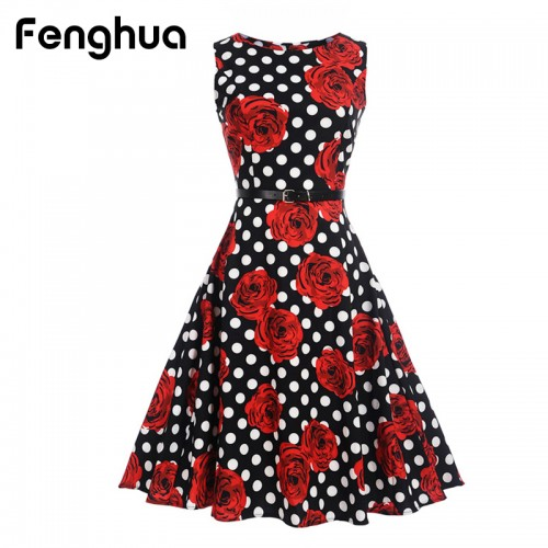 Fenghua Women Summer Dress Casual Vintage Short A Line Audrey Hepburn Floral Print Party Dress