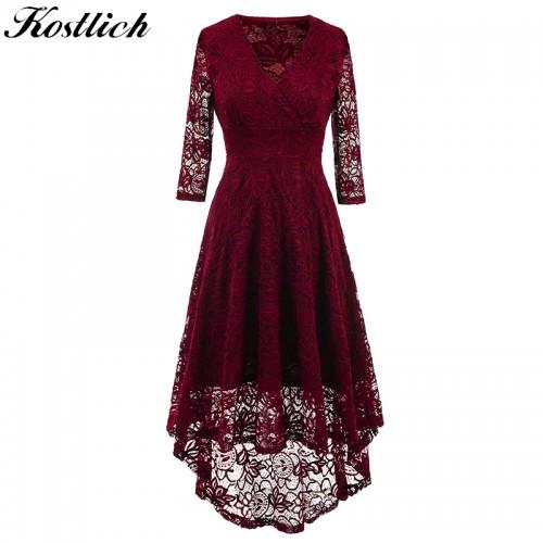 Kostlich Women Autumn Dress V Neck Sleeve Lace Hollow Evening Party Dresses