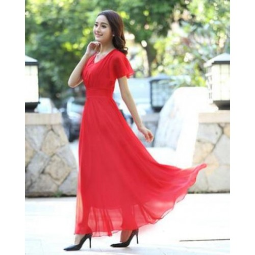 Long Women V-neck Slim Chiffon Dress
