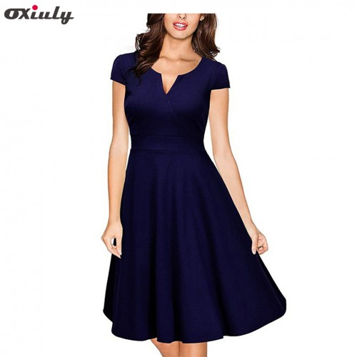Oxiuly Audrey Hepburn Vestidos Womens Dress Formal V Neck Casual Office Wear Working Bodycon Knee