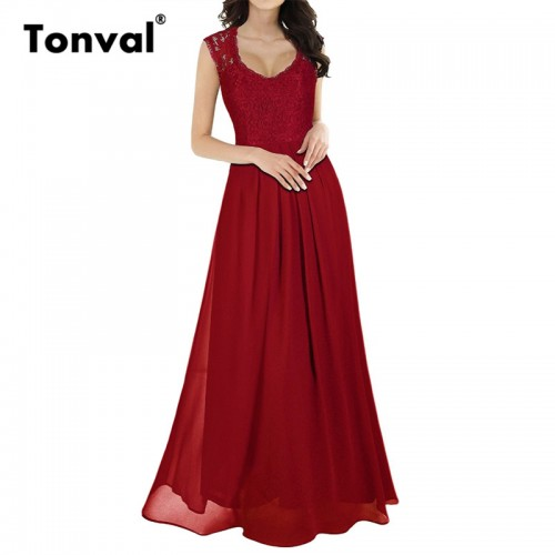 Tonval Summer Chiffon Women Evening Party Elegant Sleeveless Red Vestidos Vintage Lace Maxi Dress