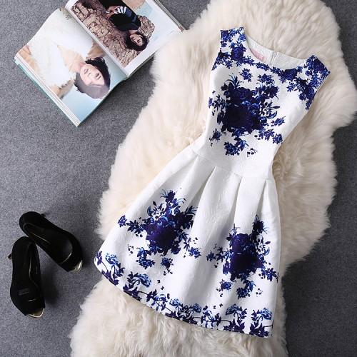 Women Summer Bodycon Vest Dress Vintage Printed Party Vestido De Festa Female Clothing