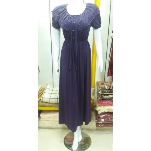 CASUAL SHORT SLEEVE LONG PURPLE MAXI