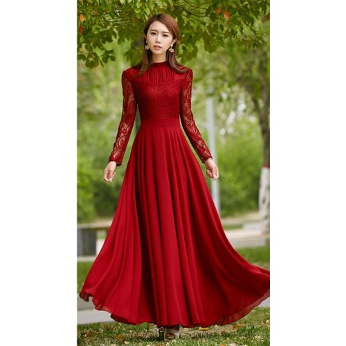 Wine Red Elegant Lace Chiffon Long Flared Maxi