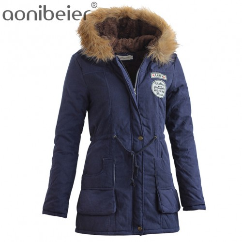 Aonibeier Parkas Women Coats Fashion Autumn Warm Winter Jackets Women Fur Collar Long Parka Plus Size