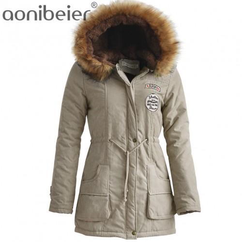 Aonibeier Winter Women Jacket Artificial Fur Collar Hooded Coat Warm Jacket Female Outerwear Casual Long Down