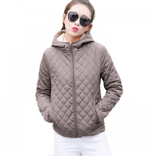 Autumn 2017 Parkas basic jackets Female Women Winter plus velvet lamb hooded Coats Cotton Winter Jacket