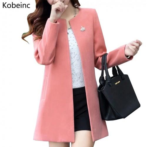 Fashion Round Neck Long Sleeve Women Coats S XXL Solid Color Casaco Feminino Loose Cardigan 2017