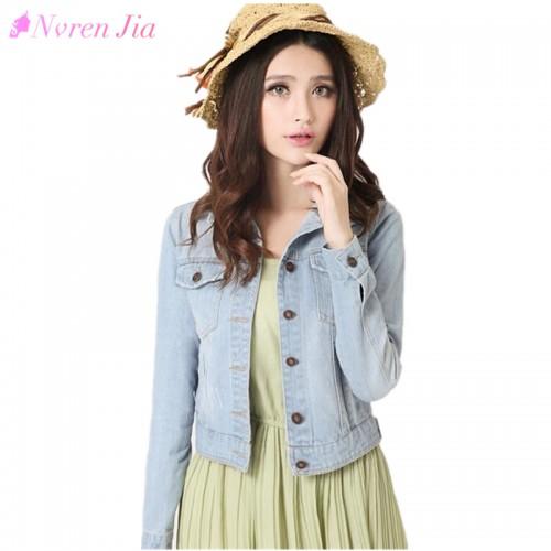 Fashion Women Denim Jacket Plus Size S 4XL Vintage Cropped Short Denim Jackets Long Sleeve Jeans
