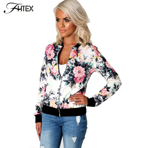 Flower Print Women Basic Coats Long Sleeve Zipper Bomber Jacket Casual Jacket Coat Autumn Winter Streetwear