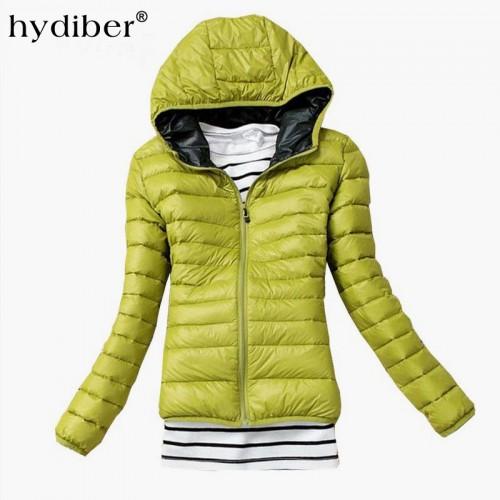 HYDIBER 2017 New Brand Fashion Hooded Parkas Winter Female Jacket Women Clothing Winter Coat Black Overcoat