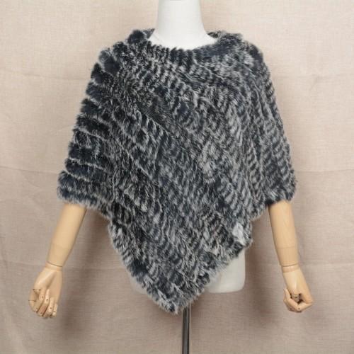 Jancoco Max 2017 Real Rabbit Fur Poncho Women Fashion Style Knitted Shawl Ladies Natural Fur Cape