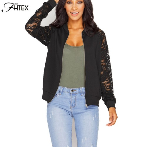Lace Sleeve Women Basic Coats Long Sleeve Lace Patchwork Transparent Zipper Casual Slim Jacket Coat Bomber
