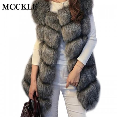 MCCKLE High quality Fur Vest coat Luxury Faux Fox Warm Women Coat Vests Winter Fashion furs