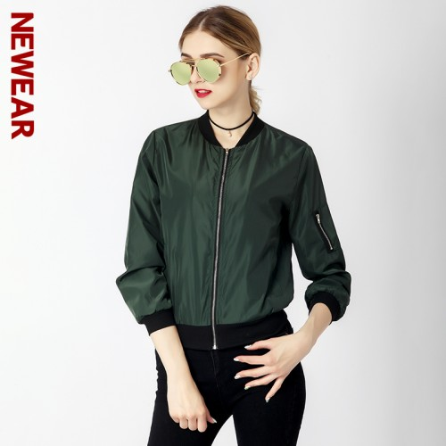 NEWEAR Women Casual Bomber Jacket Coat Autumn Winter Windbreaker Tops Long Sleeve Fashion Stand Collar Jackets