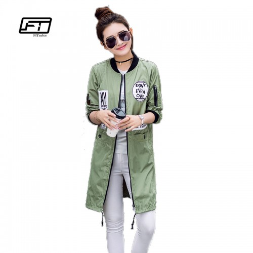 New Autumn Women Long Trench Coats Plus Size Print Letter Emboridery Windbreaker Street Fashion Baseball Casual