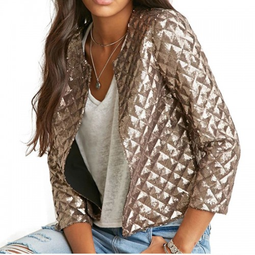 New Fashion Women J Lozenge Gold Sequins Short Jackets Three Quaters Sleeves Outwear Coats Female Casual